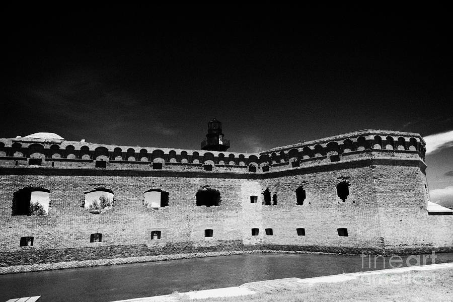 Fort Photograph - Fort Jefferson Walls With Garden Key Lighthouse Bastion And Moat Dry Tortugas National Park Florida  by Joe Fox