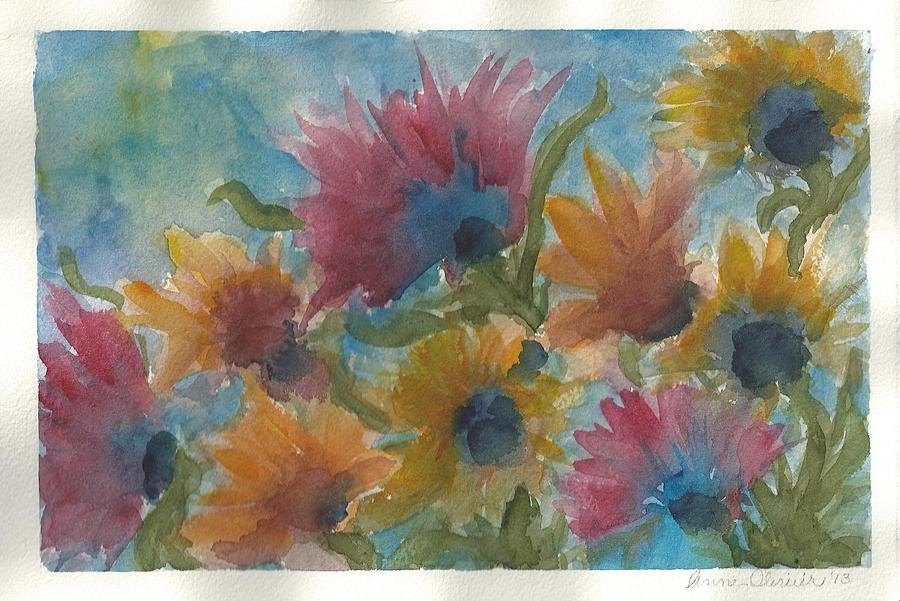 Blue Flower Painting - Free Spirits by Anne Olivier