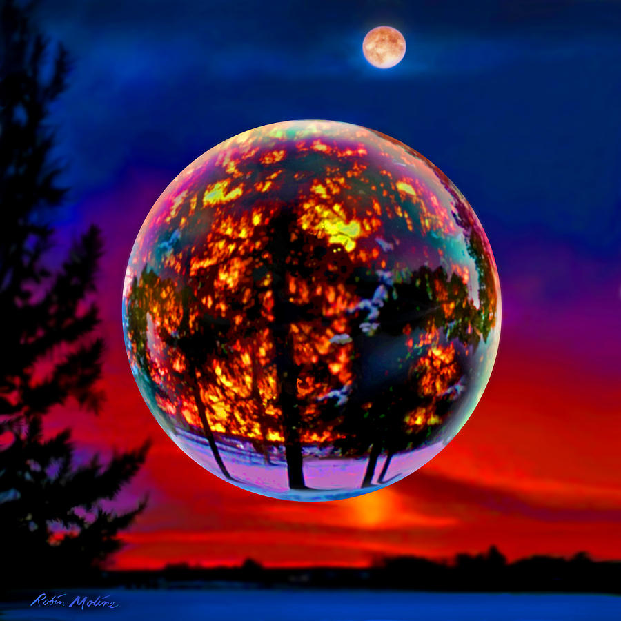 Mooning Over New Missoni: Full Moon Over New Richmond Sunset Painting By Robin Moline