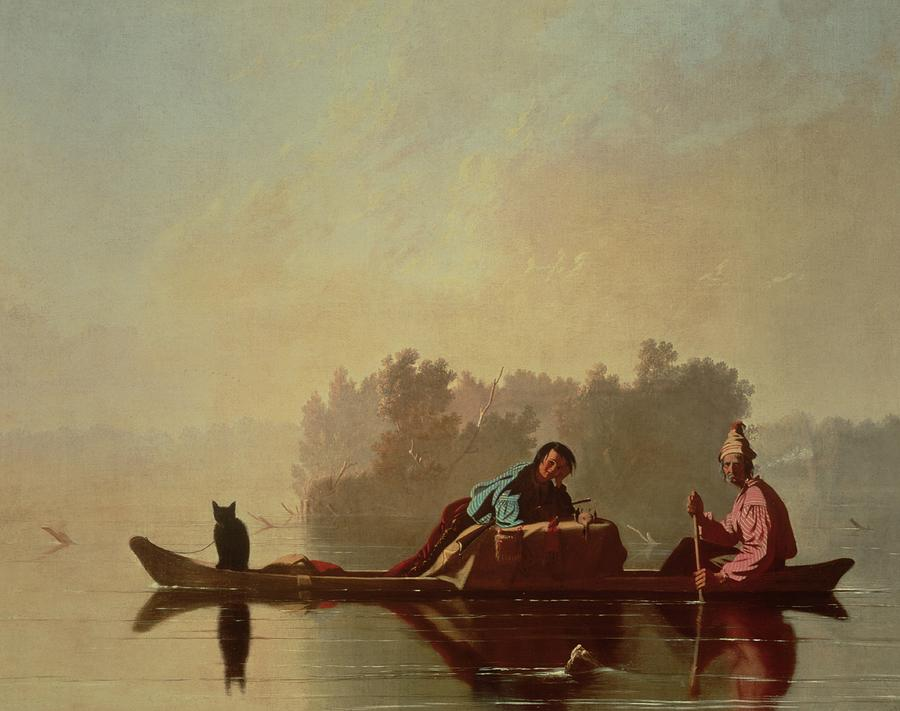 1845 Painting - Fur Traders Descending The Missouri by George Caleb Bingham