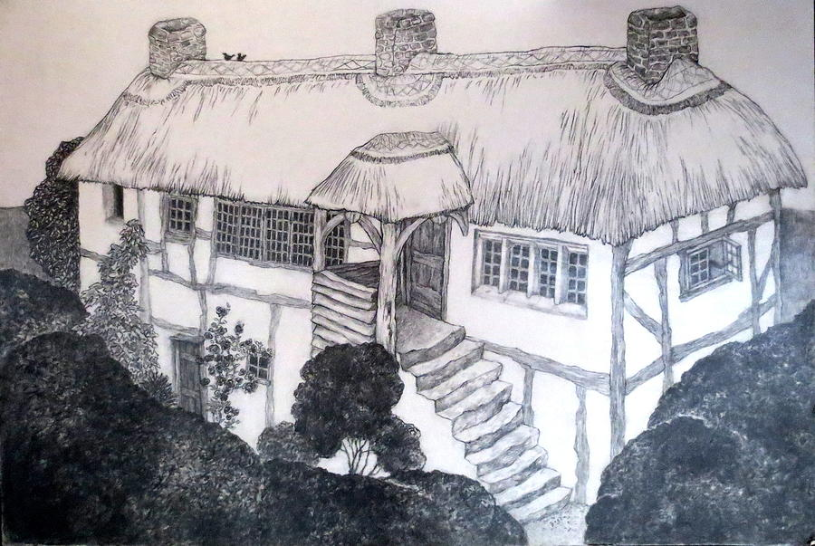 Garden Cottage Drawing - Garden Cottage by Diane Fine