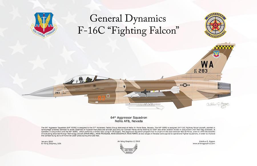 General Dynamics Digital Art - General Dynamics F-16 Fighting Falcon Aggressors by Arthur Eggers