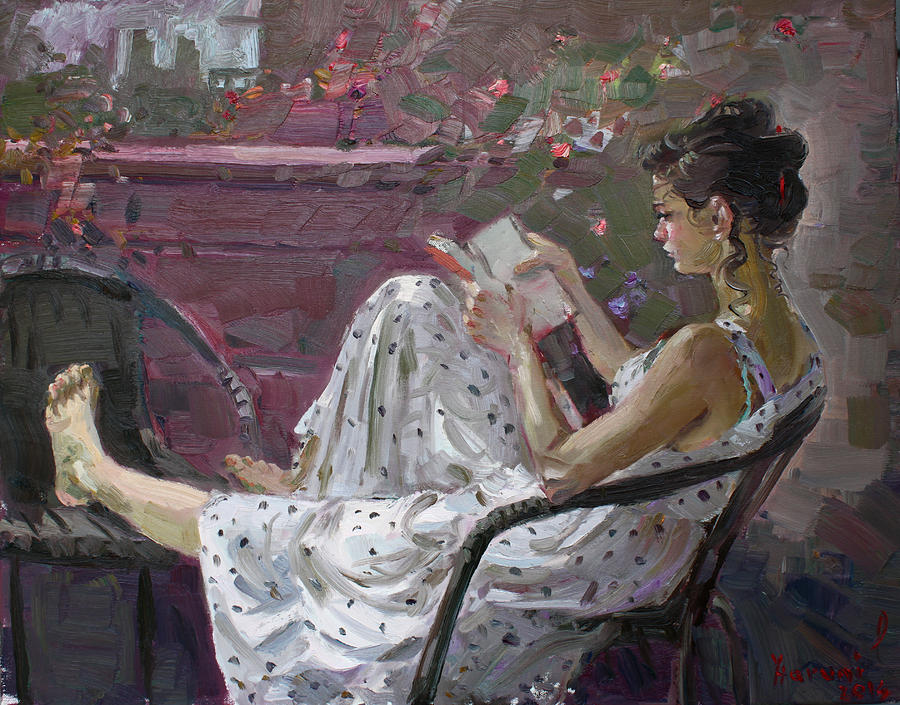 Girl Reading Painting - Girl Reading by Ylli Haruni