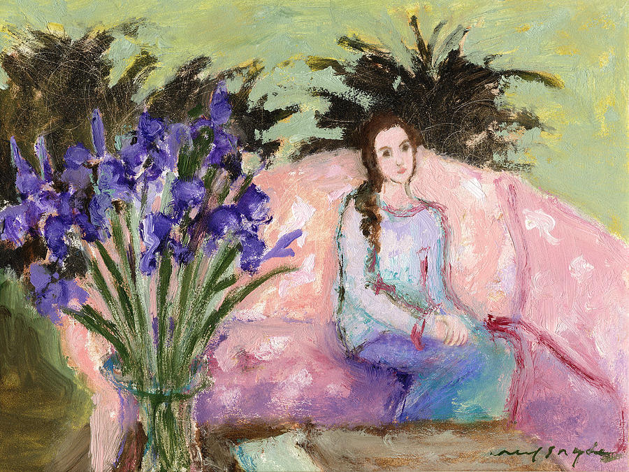 Girl Painting - Girl With Iris by J Reifsnyder