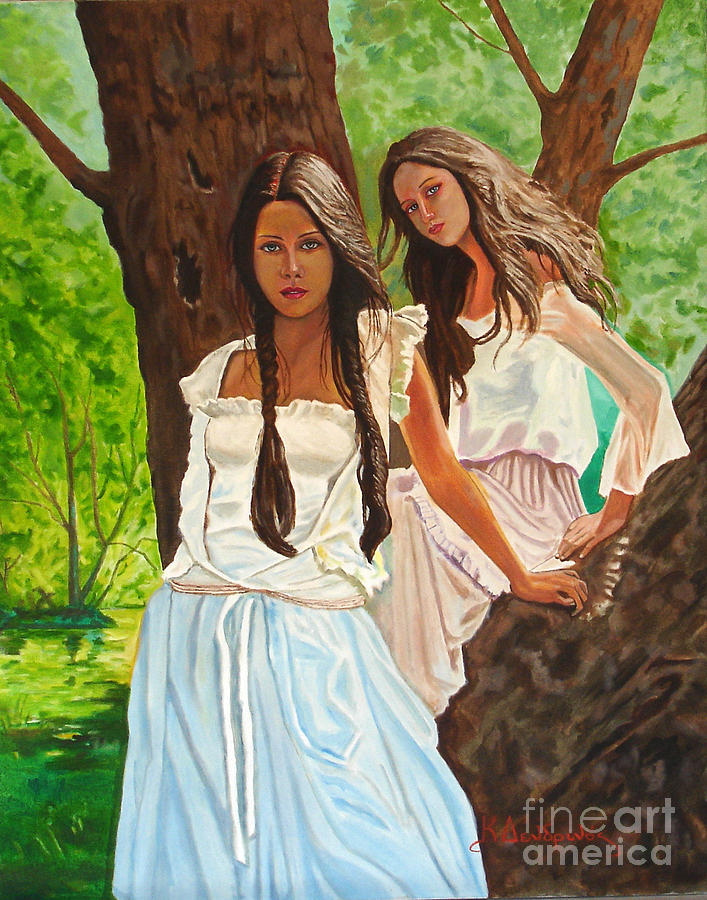 Canvas Prints Painting - Girls In The Woods by Kostas Dendrinos
