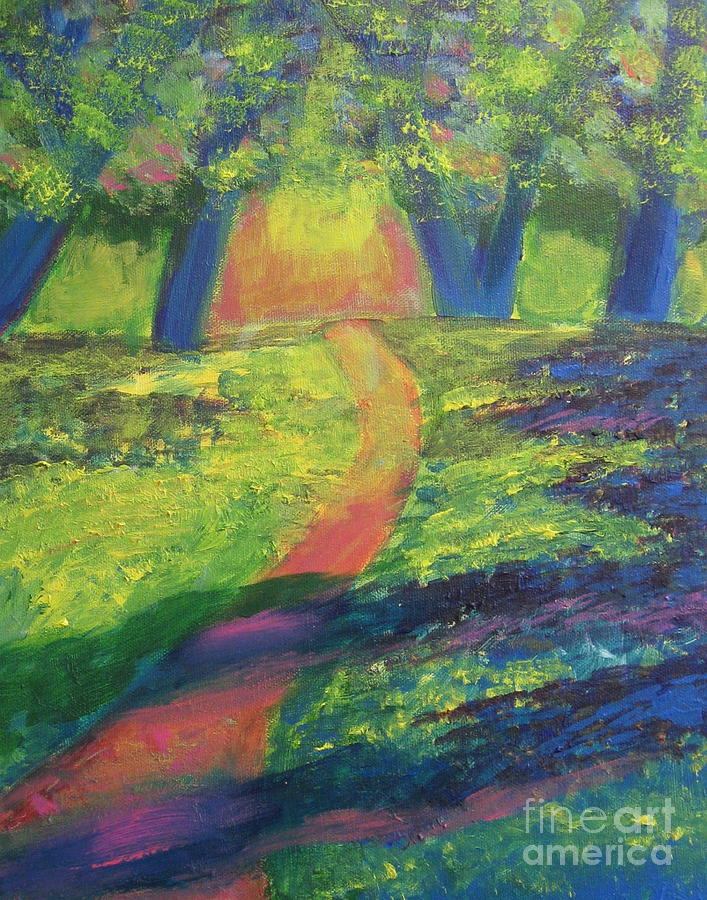 Woods Painting - Glowing Path by Diana Riukas
