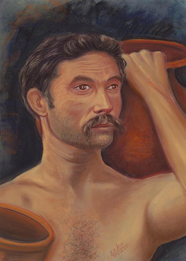 Portrait Pastel - Goala Or Member Of The Muslim by Prakash Leuva