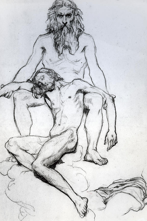Drawing Drawing - God The Father And God The Son by Henri Lehmann