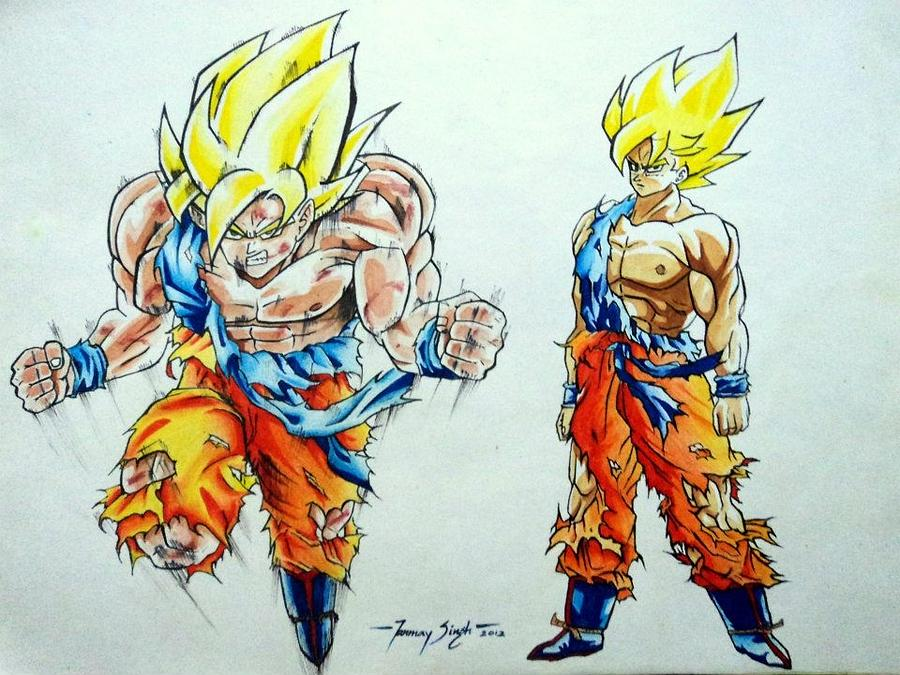 Vegeta Painting - Goku In Action by Tanmay Singh