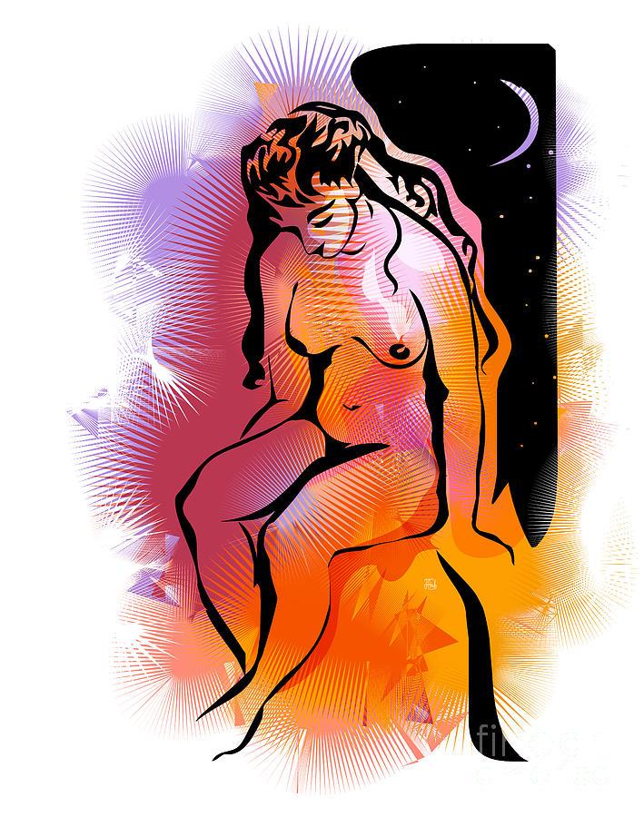 White Drawing - Golden Night by Alex Tavshunsky