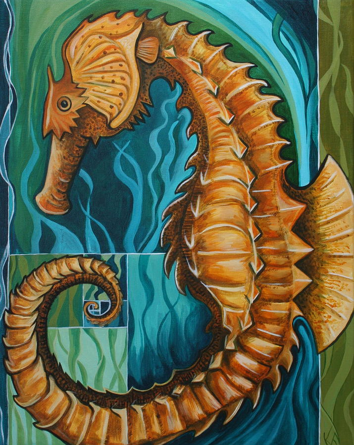 Seahorse Painting - Golden Seahorse by Kate Fortin