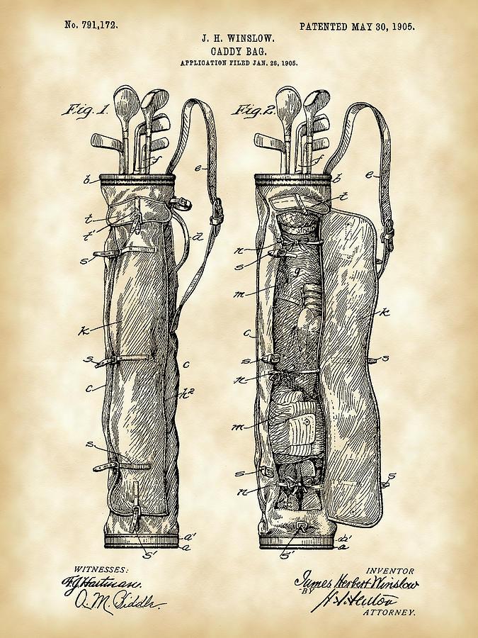 Golf Digital Art - Golf Bag Patent 1905 - Vintage by Stephen Younts