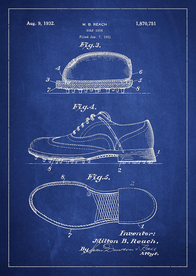 Golf Shoe Patent Drawing From 1931 Digital Art