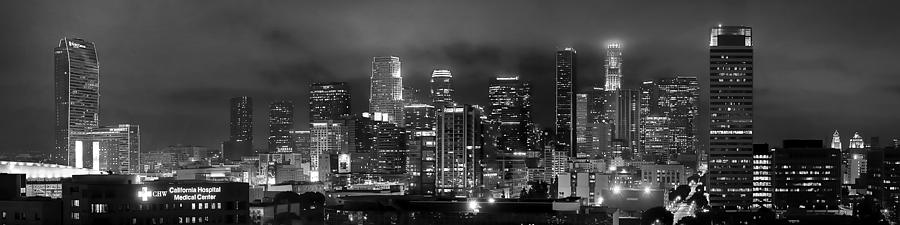 Los Angeles Skyline Photograph - Gotham City - Los Angeles Skyline Downtown At Night by Jon Holiday