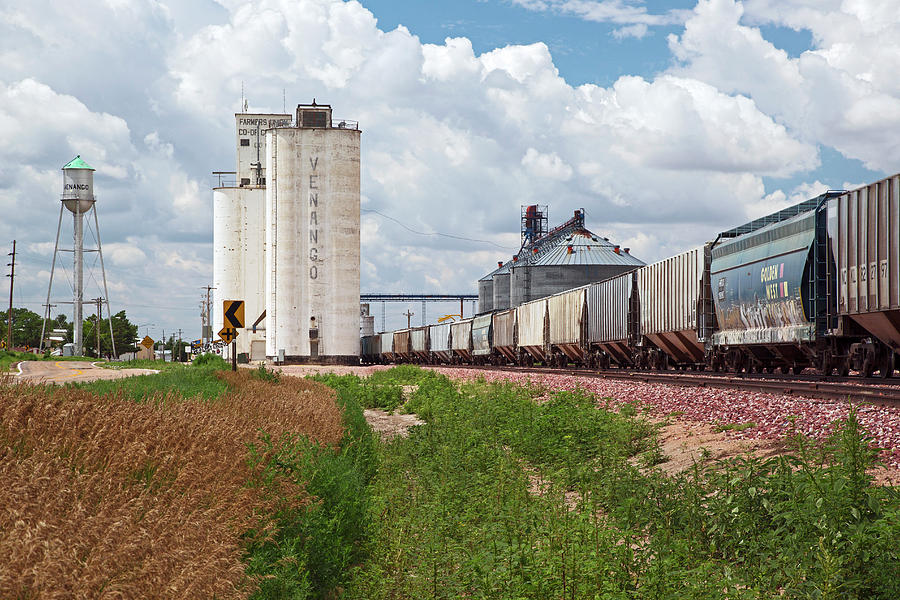 Wheat Photograph - Grain Elevators And Railway by Jim West