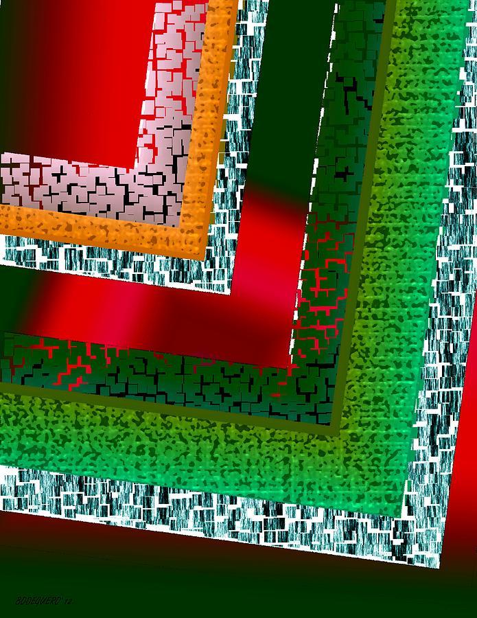 Green Digital Art - Green Geometric Art by Mario Perez