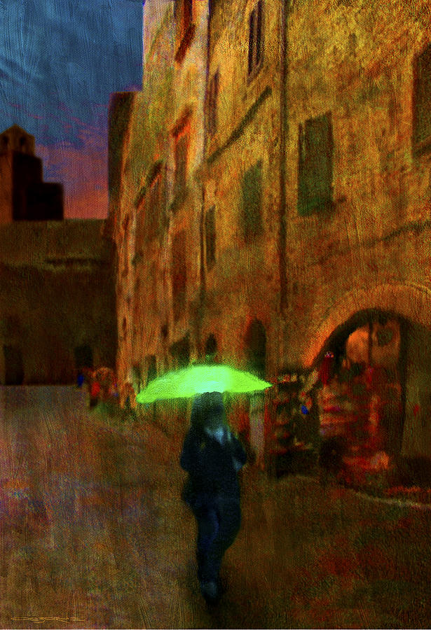 Umbrella Painting - Green Umbrella by Patrick J Osborne