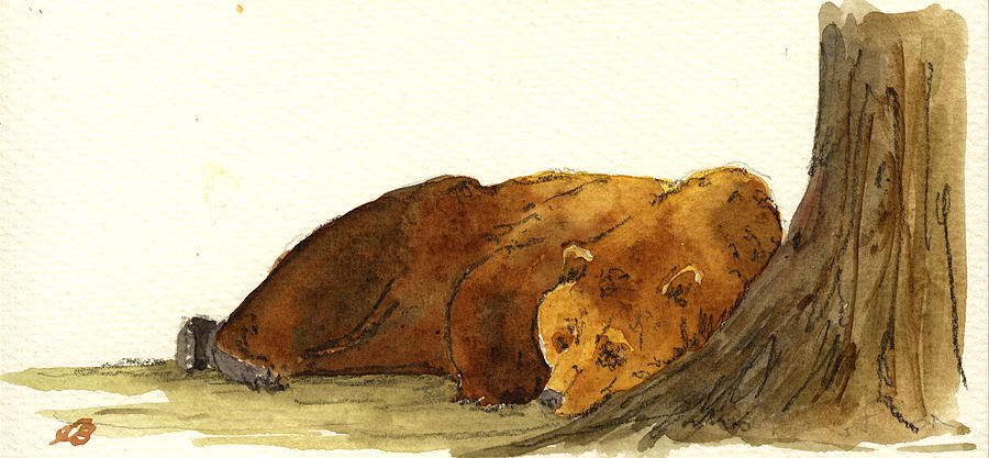 Grizzly Painting - Grizzly brown bear by Juan  Bosco