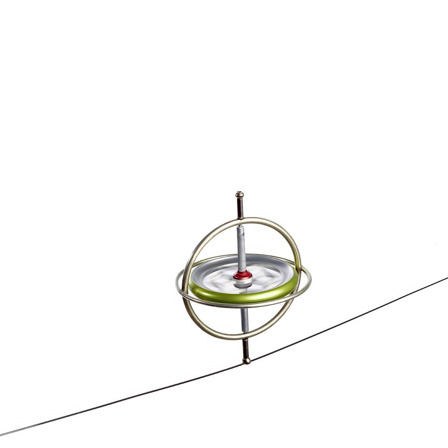 Compass Photograph - Gyroscope Balancing On A Wire by Science Photo Library