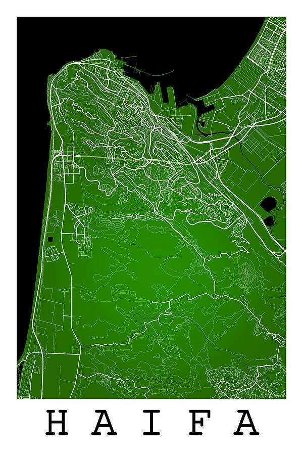 Haifa Street Map Haifa Israel Road Map Art On Color Digital Art by