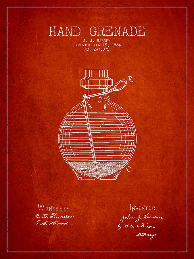 Grenade Digital Art - Hand Grenade Patent Drawing From 1884 by Aged Pixel