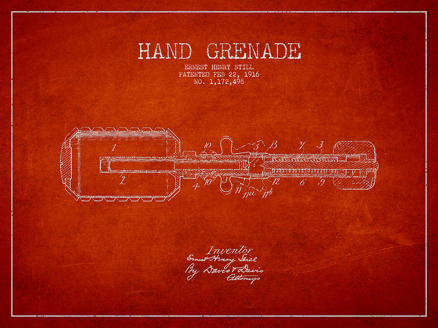 Grenade Drawing - Hand Grenade Patent Drawing From 1916 by Aged Pixel