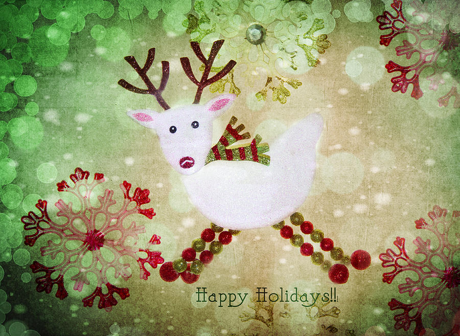 Reindeer Photograph - Happy Holidays by Rebecca Cozart