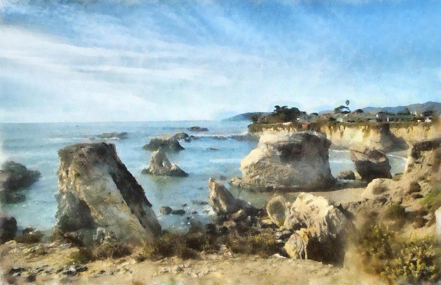 Pismo Beach California Digital Art - Hazy Lazy Day Pismo Beach California by Barbara Snyder