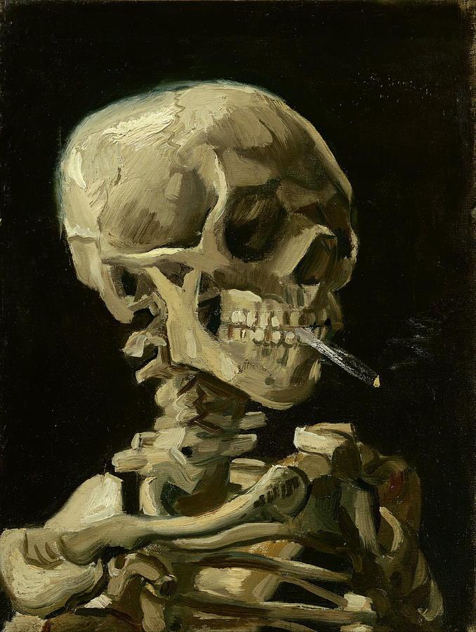 Head Of A Skeleton With A Burning Cigarette Painting