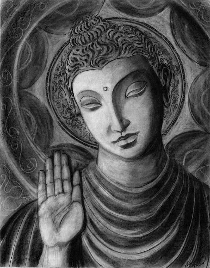 Charcoal Drawing Drawing - Head Of Buddha by Naresh Sukhu
