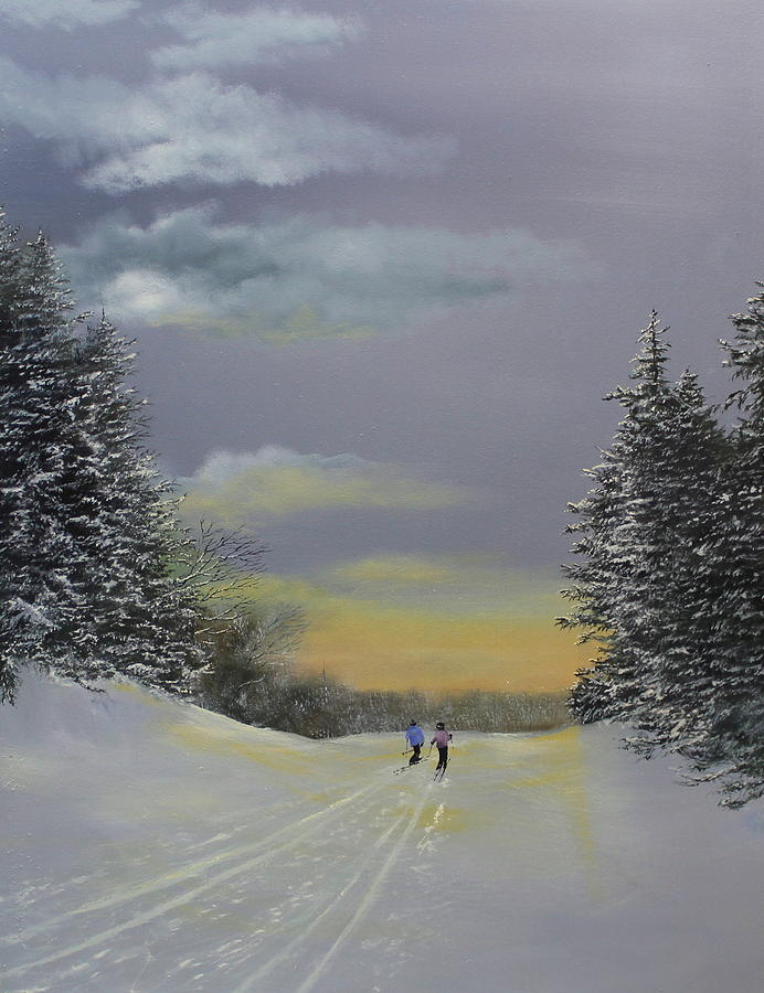Ski Painting - Heading Home by Ken Ahlering
