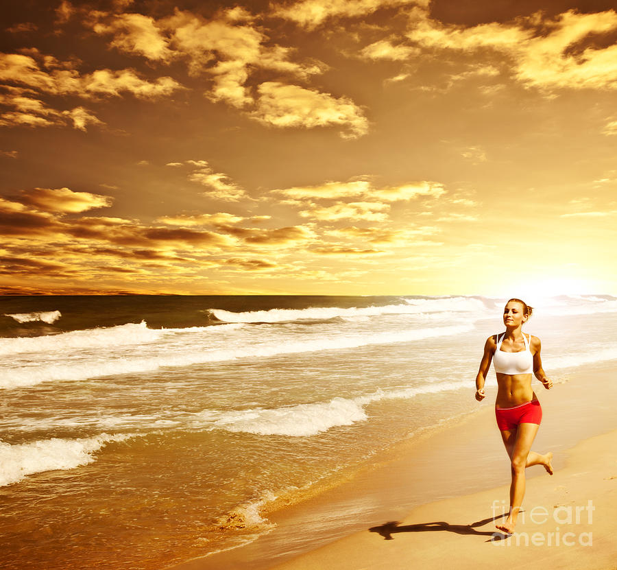 Active Photograph - Healthy Woman Running On The Beach by Anna Om