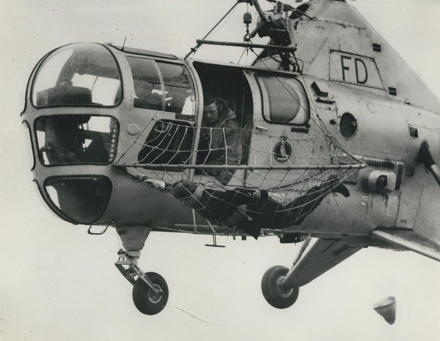 Retro Photograph - Helicopter Rescue - Royal Navy Adopts New Apparatus by Retro Images Archive
