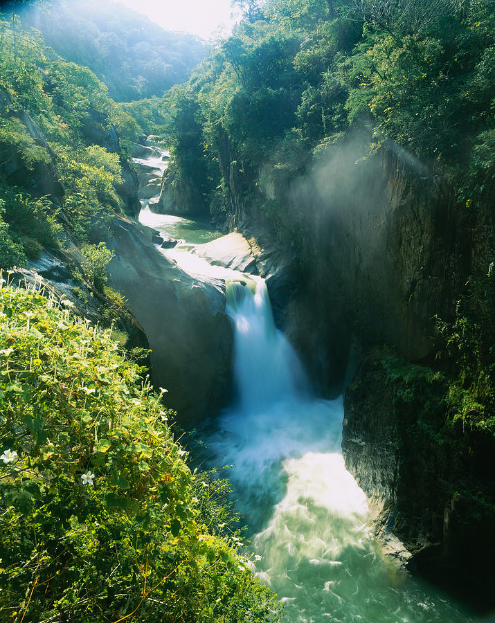 Color Image Photograph - High Angle View Of A Waterfall by Panoramic Images