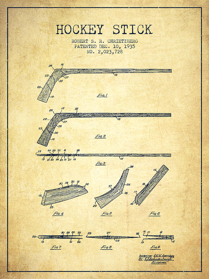 Hockey Drawing - Hockey Stick Patent Drawing From 1935 by Aged Pixel