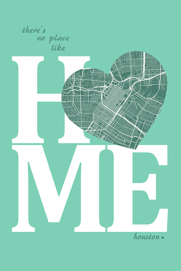 Houston Street Map Home Heart Houston Texas Road Map In A Hear