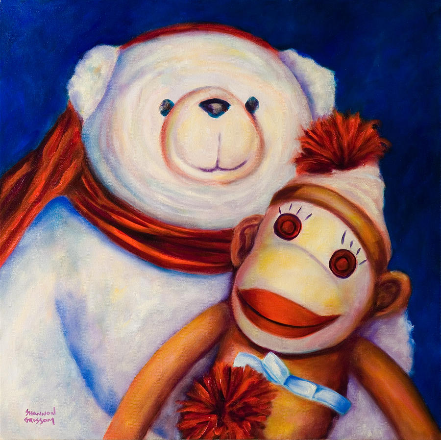 Sock Monkey Painting - Hugs by Shannon Grissom
