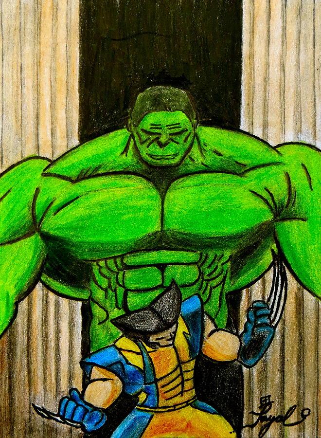 Hulk Drawing - Hulk Vs Wolverine by Artistic Indian Nurse