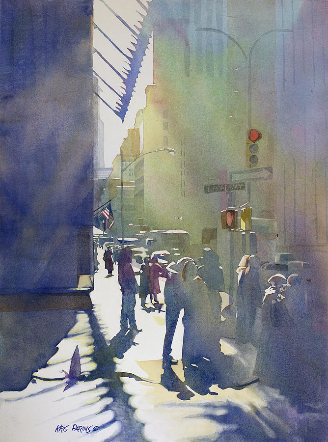 Artist Painting - I Saw The Light At 44th And Broadway by Kris Parins