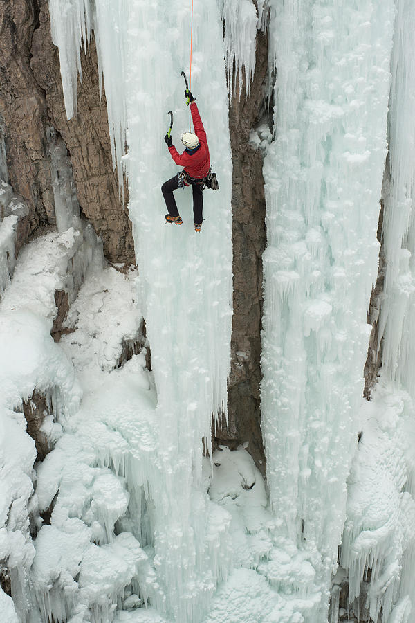 Adventure Photograph - Ice Climber Ascending At Ouray Ice by Howie Garber