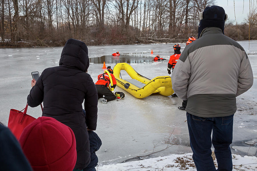 2017 Photograph - Ice Rescue Demonstration by Jim West/science Photo Library