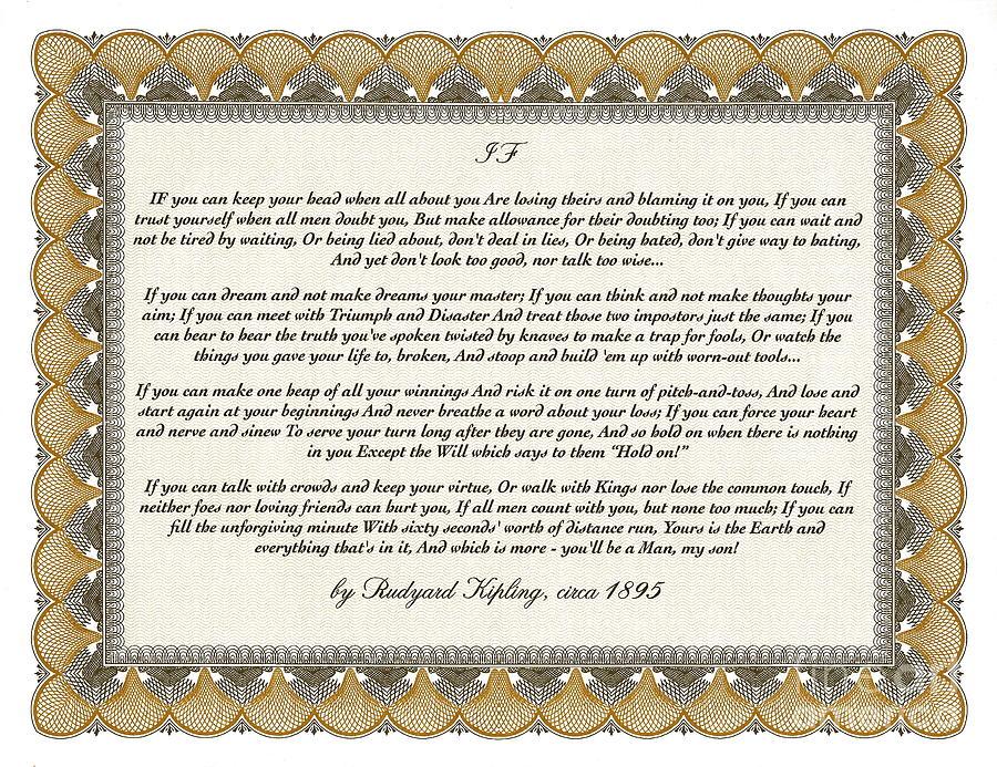 Rudyard Kipling Mixed Media - If By Rudyard Kipling by Desiderata Gallery