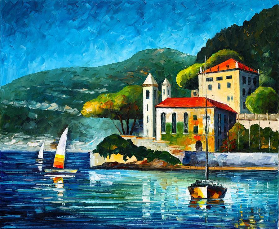 Afremov Painting - Italy Lake Como Villa Balbianello by Leonid Afremov