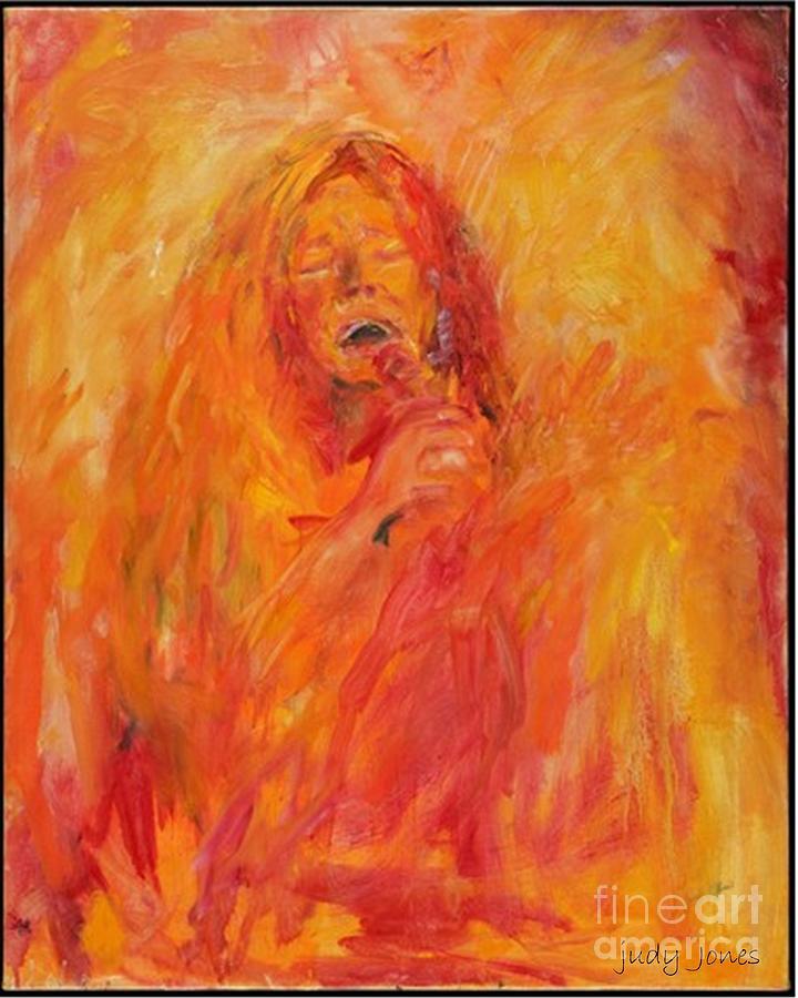Janis Joplin Painting - Janis Joplin On Fire by Judy Joy Jones