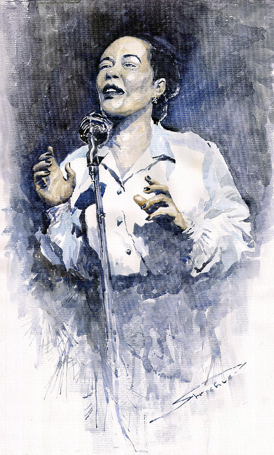 Watercolor Painting - Jazz Billie Holiday Lady Sings The Blues  by Yuriy  Shevchuk