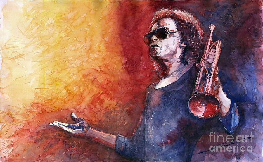 Watercolor Painting - Jazz Miles Davis by Yuriy Shevchuk