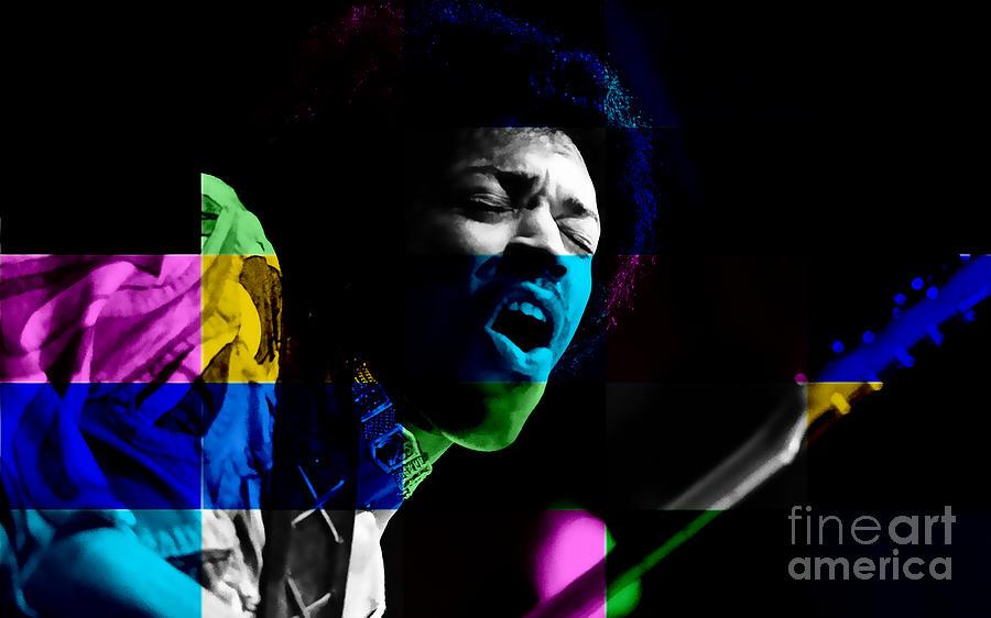 Jimi Hendrix Mixed Media by Marvin Blaine