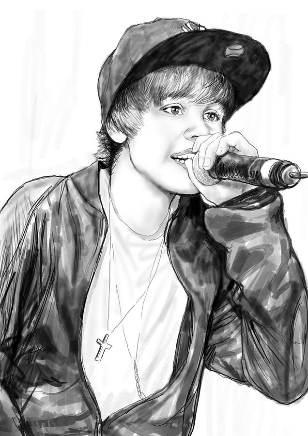 Portraits Drawing - Justin Bieber Art Drawing Sketch Portrait by Kim Wang