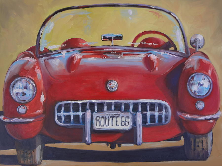 Hot Rod Painting - Lady In Red by Kelley Smith
