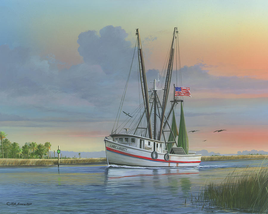 Shrimp Boat Painting - Lady Liberty by Mike Brown